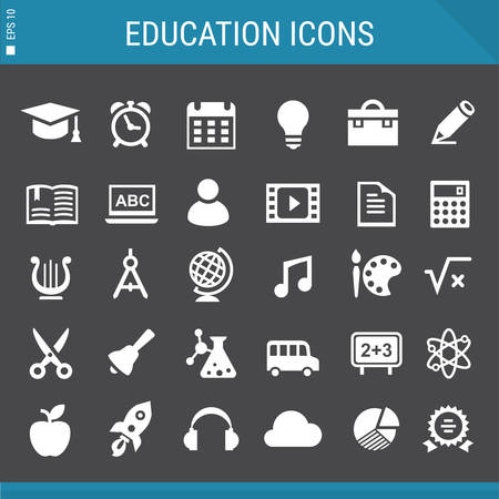 exercisebook: Modern flat design education icons collection on gray