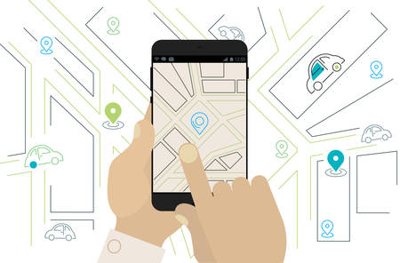 Mobile Car Sharing, Navigation, Location App Concept