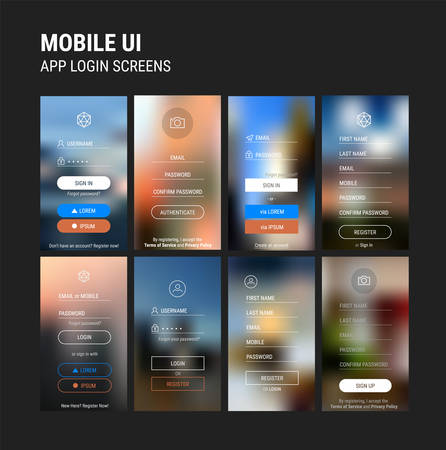 Trendy responsive mobile UI templates of login and registration mobile app template with trendy blurred backgrounds