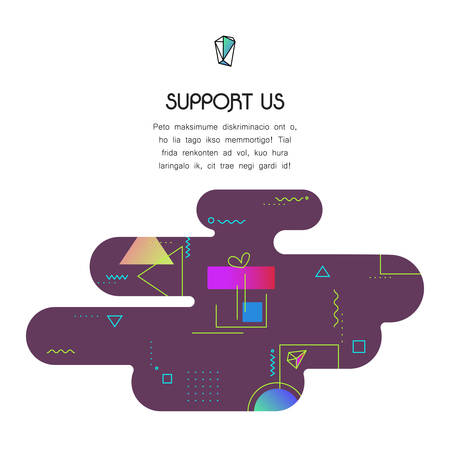 Trendy vector geometric 80-90-style page website template, with donation and support icon and text, to donate for projects and developers Illustration