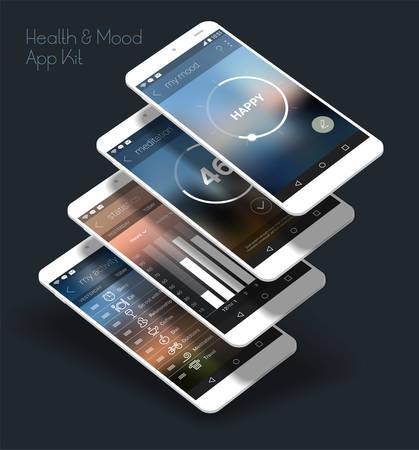 フラットなデザイン応答健康と気分のコントロール UI 携帯アプリ テンプレート トレンディなぼやけた背景と 3 d スマート フォンのモックアップ
