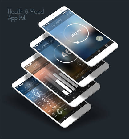 Flat design responsive Health and Mood Control UI mobile app template with trendy blurred backgrounds and 3d smartphone mockups