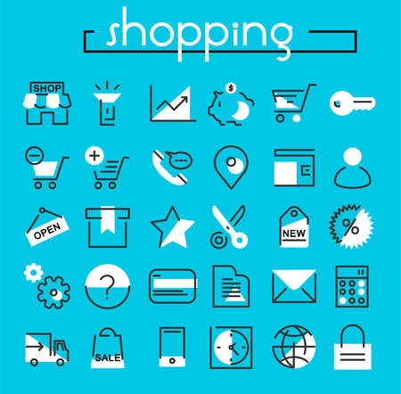 Vector set of trendy inline bold shopping icons, white on blue