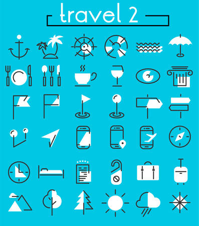 Vector set of trendy inline bold icons of travel and tourism metaphors, white on blue, set 2