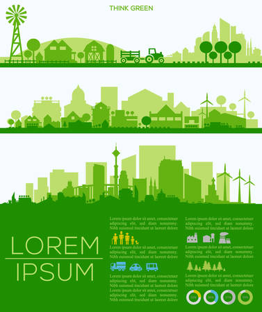 rural development: Abstract stylish cityscape infographics. Infographics elements collection with town, city, farm and industrial districts, with infographics elements and industry icons