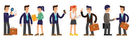 Vector concept cartoon character illustrations businessmen presentating a report, striking a target, searching information, talking with colleague, working with a computer, speaking by megaphone, saving his money etc Illustration