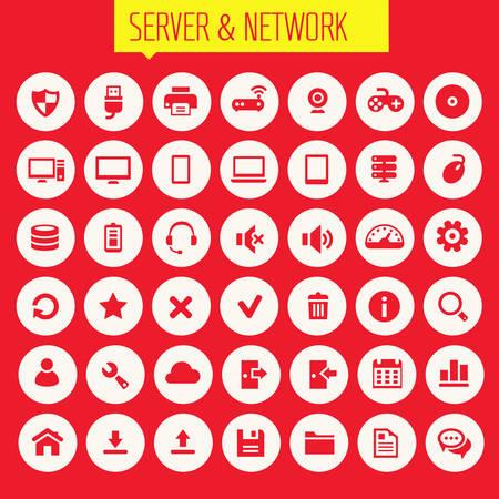 photo printer: Trendy flat design big computer and server networks icons set Illustration