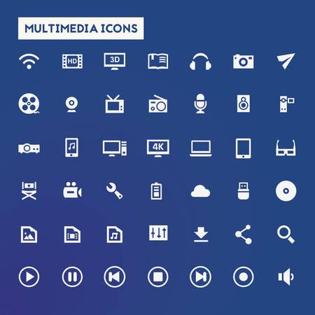 pause button: Trendy flat design big Multimedia icons set