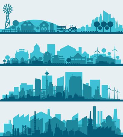 スタイリッシュな街並みのインフォ グラフィックを抽象化します。町、市、ファーム、工業地区とインフォ グラフィック要素のコレクション