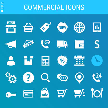 call log: Modern flat design commercial icons collection on gray