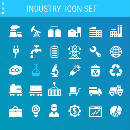 Modern flat design industrial icons collection on blue Illustration