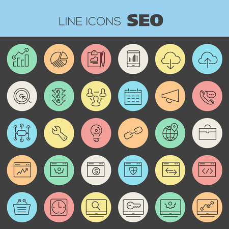 keywords: Trendy line icons - SEO and Internet Marketing icons collection