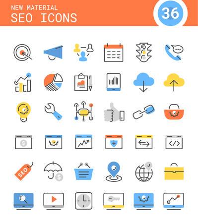 Trendy linear SEO icons in bright colored retro 80s, 90s memphis style