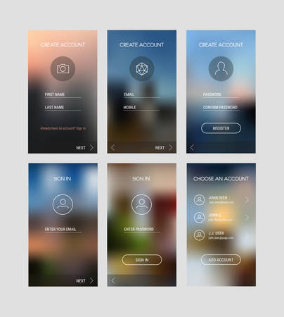 Trendy Responsive Mobile UI Templates Of Login And Registration ...