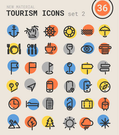 sights: Trendy bold linear tourism and travel icons in bright colored retro 80s, 90s style, set 2