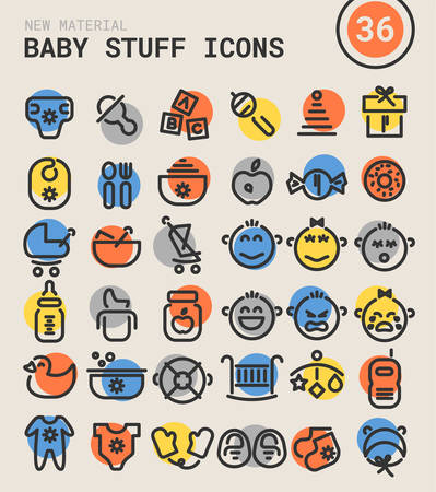 Trendy bold linear baby stuff icons in bright colored retro 80s, 90s style Illustration