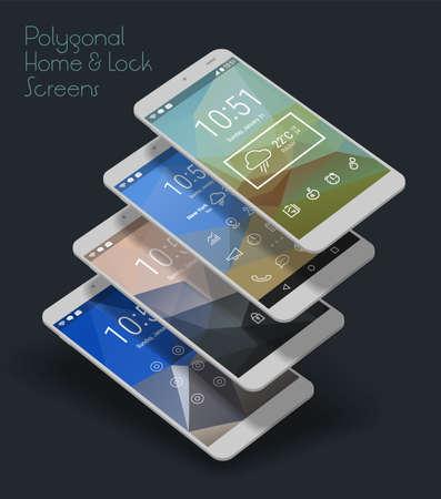 html: 3d isometric flat design lockscreen mobile UI mock up, with triangular abstract geometric landscape background Stock Photo