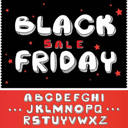 Black Friday-verkoopconceptkalligrafie met sterrenontwerpachtergrond, met steekproefalfabetletters; lettertype vectorillustratie Stock Illustratie
