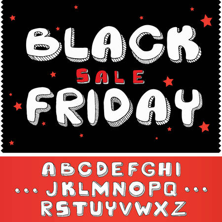 Black Friday Sale Concept calligraphy with stars design background, with sample alphabet letters; font vector illustration