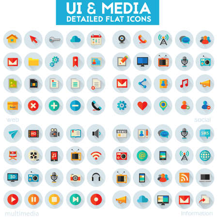 Trendy flat detailed multimedia, information, web and social colored icons on white background
