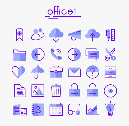 Office 1 linear icons collection.