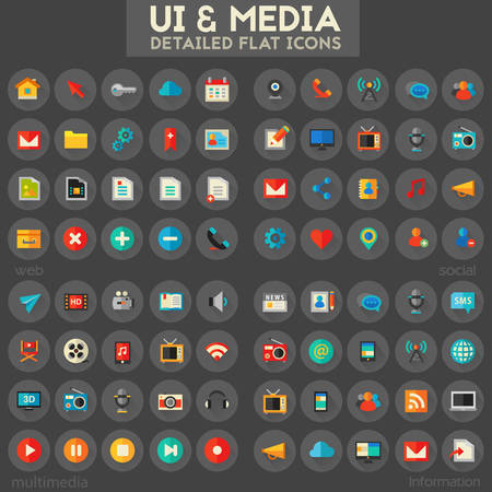 Trendy flat detailed multimedia, information, web and social colored icons on dark background. Çizim