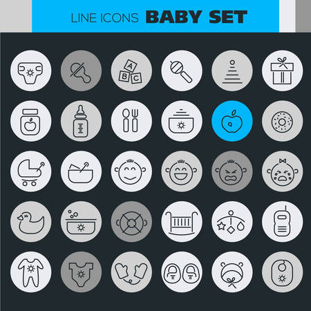 Trendy line icons - Baby Stuff icons collection