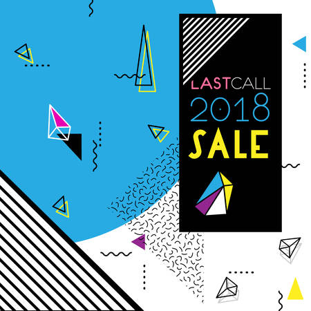 Abstract trendy vector Neo Material style background. Last Call Sale 2018