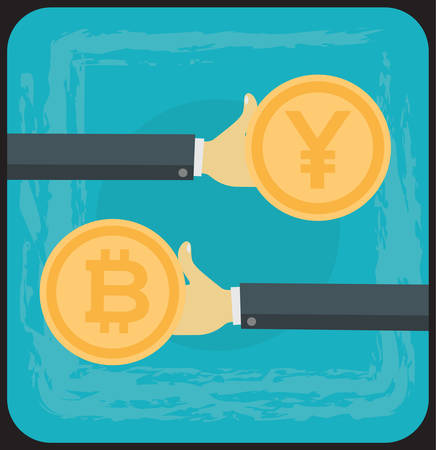 Vector concept cartoon illustration of bitcoin exchange on cryptocurrency markets