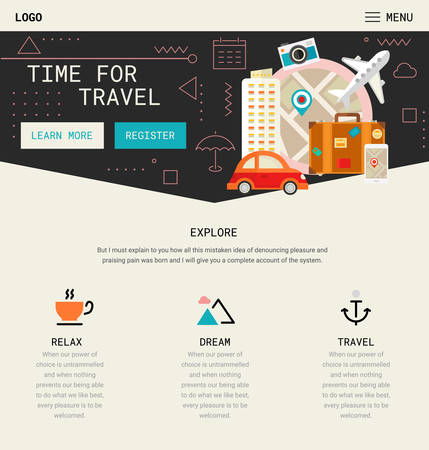 Trendy Responsive Landing Page Or One Page Website Template Royalty ...