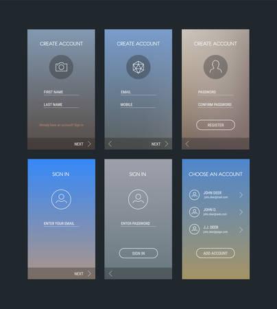 Trendy responsive mobile UI templates of login and registration mobile app