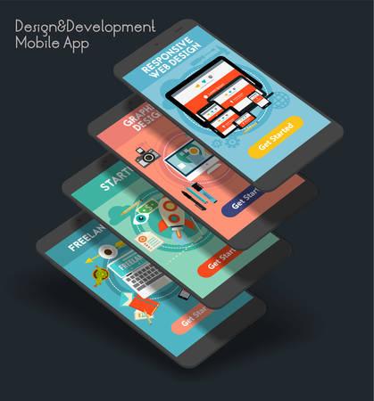 Flat design responsive Design and Development UI mobile app splash screens