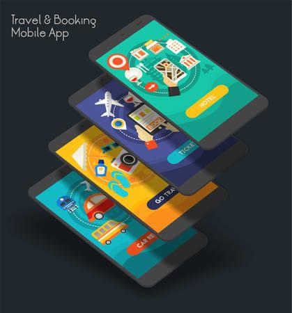 Flat design responsive UI mobile app with 3d mockups Illustration