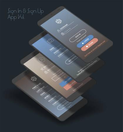 Trendy 3d responsive mobile UI templates of login and registration mobile app