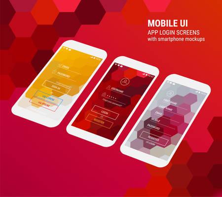3d isometric flat design lock screen mobile UI mock up