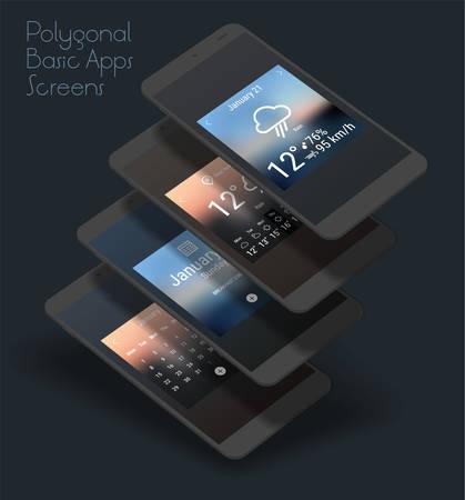 3d isometric flat design basic app mobile UI mock up Illustration