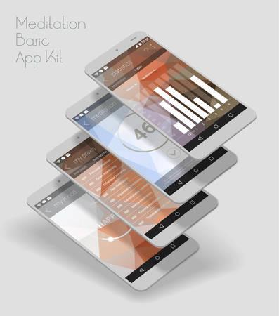 Flat design responsive Meditation and Mood Control UI mobile app Illustration