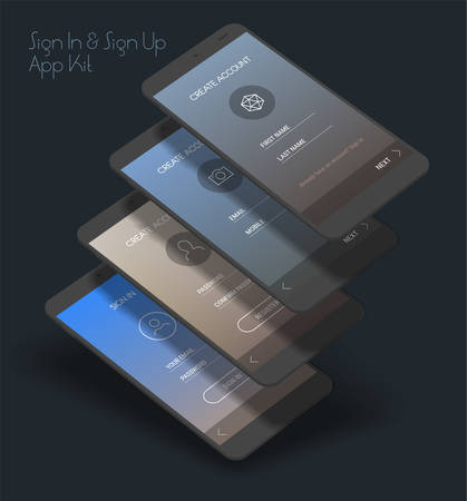 Trendy 3d responsive mobile UI templates of login and registration mobile app template