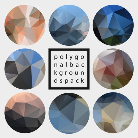 Abstract trendy vector polygonal textured background set
