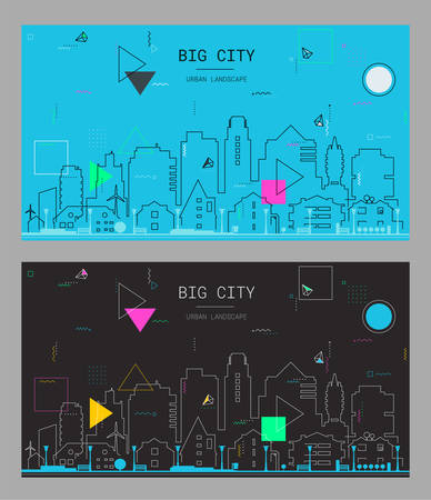 New material style trendy bold linear Big City illustration