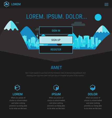 Trendy responsive landing page or one page website template, for startups and apps