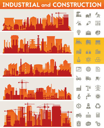 Vector horizontal banners with industrial part of city. Illustration