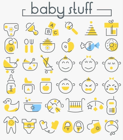 Vector set of trendy inline bold baby stuff icons, white on blue