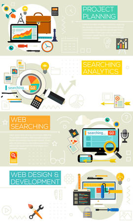 Project Planning, Searching Analytics, Web Searching, Web design and Development concepts