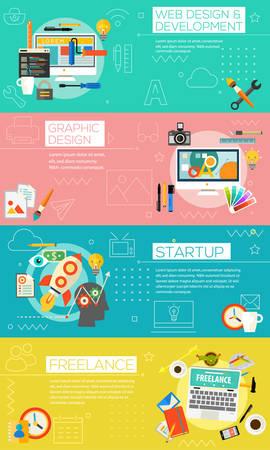 Graphic design, webdesign and development, startup, freelance concept.