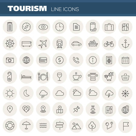 Vector big set of trendy linear icons of travel and tourism metaphors