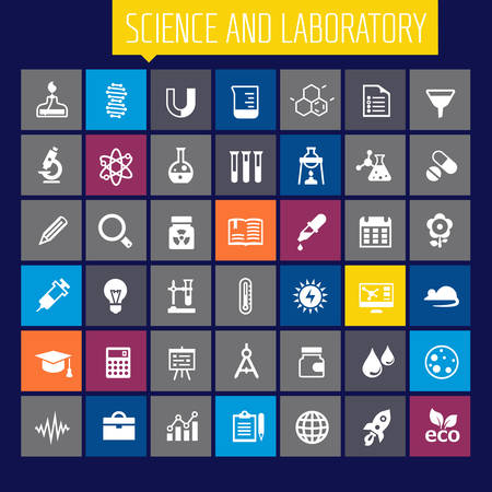 Trendy flat design Science and Laboratory icons collection Illustration