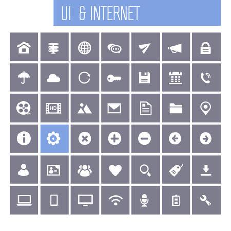 Trendy flat design big UI and Internet icons set