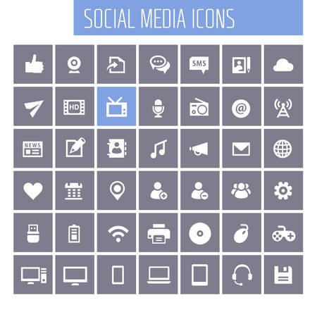 Trendy flat design big social media icons set