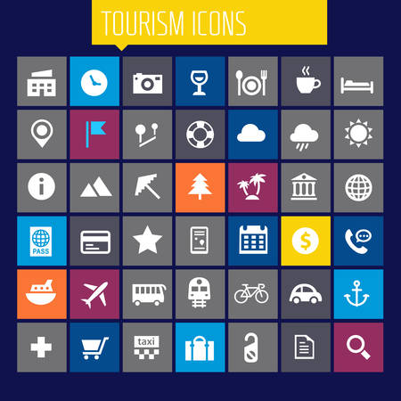 Trendy big tourism and travel icons collection Illustration